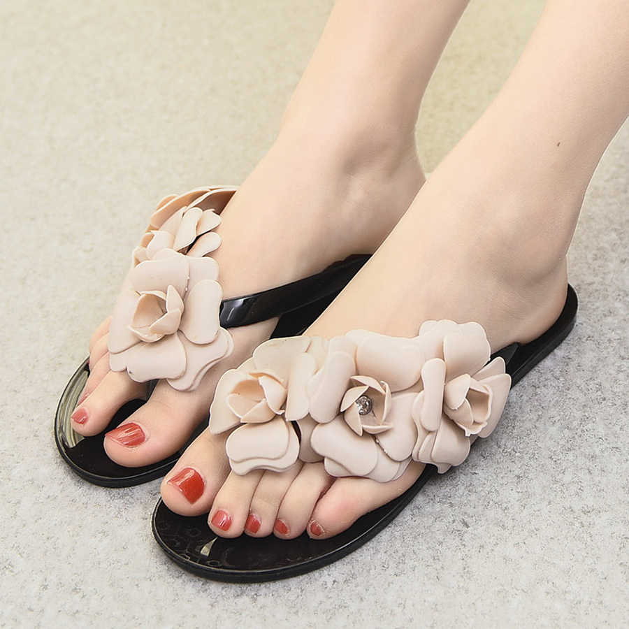 2762627ba ... Sweet Girls Camellia Flower Flip Flops Women Beach Sandals Summer  Slippers Shoes Flat With Flores Jelly ...