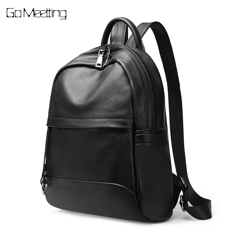 Go Meetting 100% Real Soft Natural Genuine Leather Women Backpack Cow Leather Female Ladies Backpacks Travel Shoulder Bag go meetting brand fashion women backpacks soft washed leather bag schoolbags for girls leisure bag mochilas travel backpack