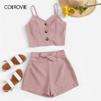 COLROVIE Solid Button Front Cami Top With Belted Shorts Women 2019 Summer Boho Two Piece Set Ladies Holiday 2 Piece Set Outfits