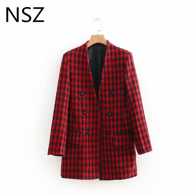 Women Red Plaid Check Double Breasted Tweed Blazer Houndstooth Jackets Fall Long Sleeve V Neck Office Wear Coat Outerwear