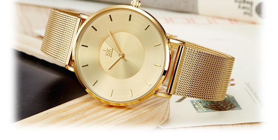 Shengke Black Fashion Luxury Ultra Thin Ladies Quartz Watch