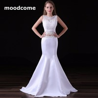 2018 Crop Top Prom Dresses Cheap Mermaid Two Piece Satin Lace Cheap Custom Made Plus Size Formal Evering Gowns