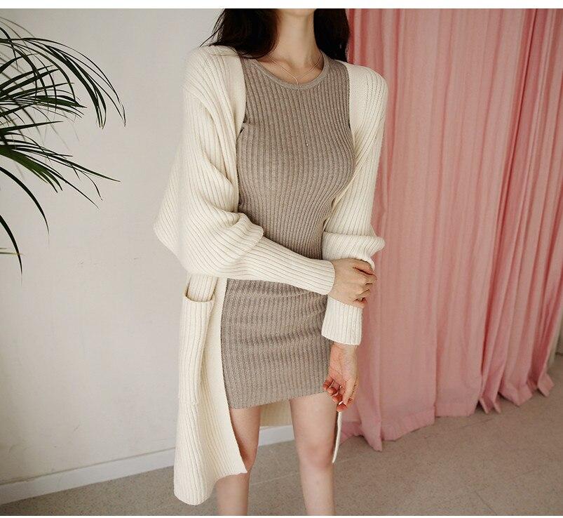 HTB1Tzd.bcfrK1Rjy1Xdq6yemFXaX - skinny  solid Elegant Autumn Dress Girls Boho Female Vintage Dress knitting Women LongSleeve Women Dresses knitted Robe Vestido