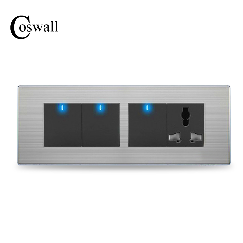 COSWALL 3 Gang 2 Way Wall Light Switch LED Indicator With 3 Hole Universal Power Socket Stainless Steel Panel 197* 72mm fizzy moon мишка 13 см fizzy moon