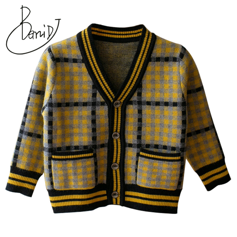 2018 new Autumn Boys Sweater Plaid clothes Boys Cotton Cardigan Sweater Kids Fashion V-Neck Outerwear Tops Children Knitwear 881 mens v neck button up cardigan