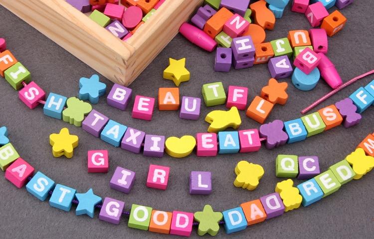 Montessori Beads Educational Wooden Toys For Girls Alphabet Lacing  Kindergarten Games Preschool Child Montessori Education Toy Math Toys  -  AliExpress