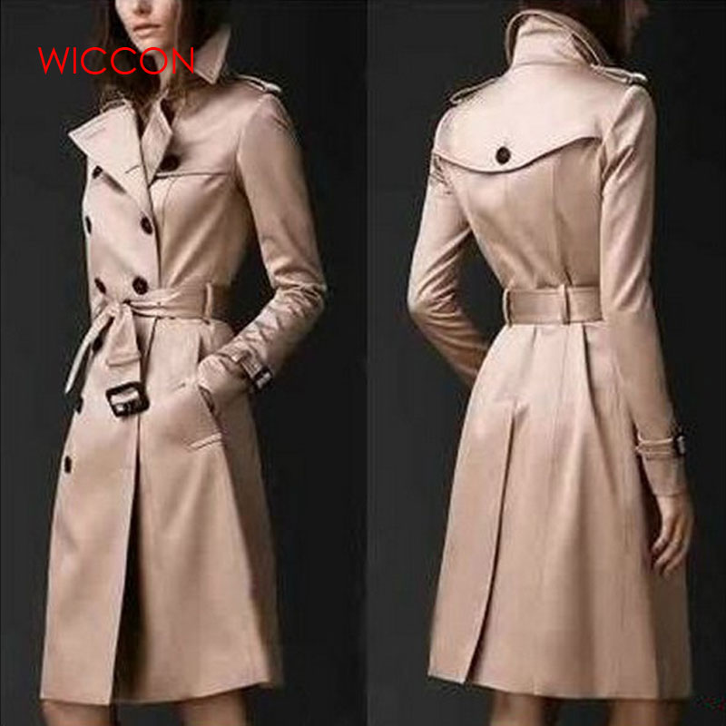 2020 Autumn New Brand Women Trench Coat Long Windbreaker Europe America Fashion Trend Double-Breasted Slim Long Trench