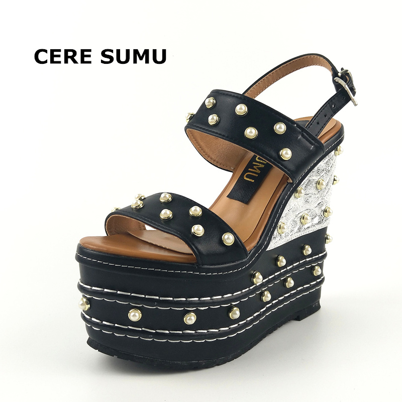 2018 Fashion Summer Sandals Women 16CM Super High Heels Platform Wedges Shoes Pearls Ankle Wrap Open Toe Ladies Shoes Women phyanic 2017 gladiator sandals gold silver shoes woman summer platform wedges glitters creepers casual women shoes phy3323