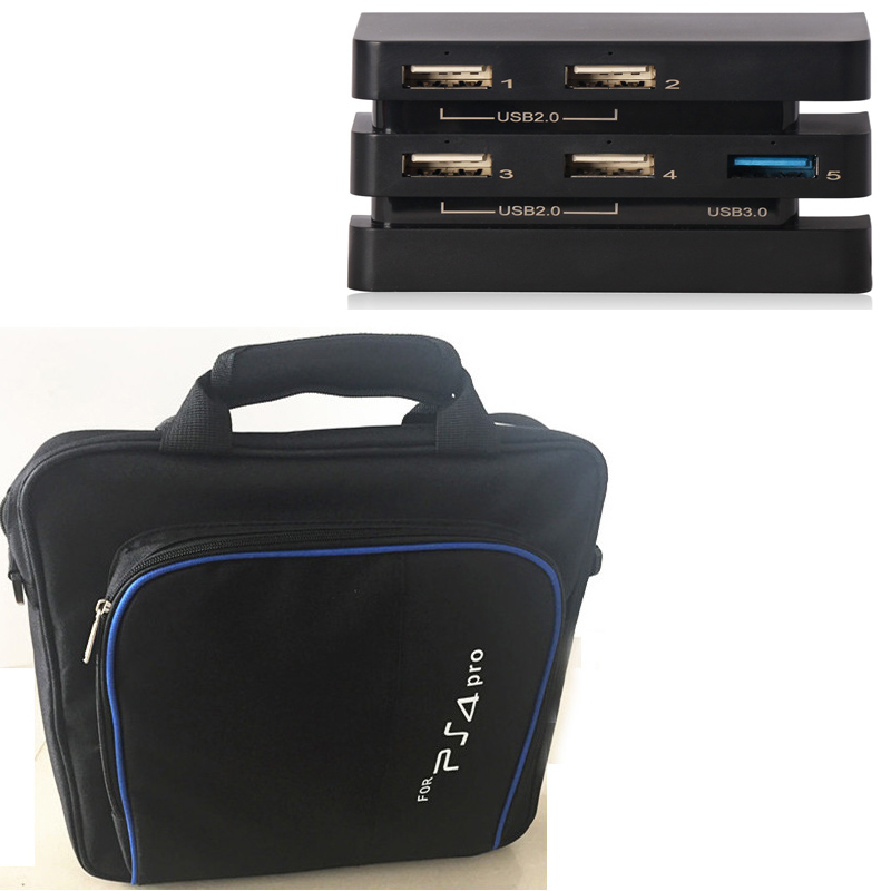 PS4 PRO PS 4 PRO carry bag storage travel Case+Extender USB Adapter 5-in-1 HUB for ps4 Pro Playstation 4 Pro Console Controllers womanizer pro