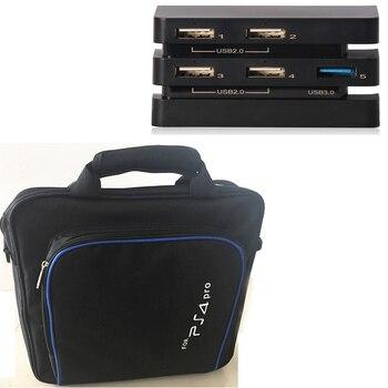 Sacoche de transport PS4 PRO PS 4 PRO housse de voyage + adaptateur USB d'extension moyeu 5-en-1 pour manettes de Console ps4 Pro Playstation 4 Pro