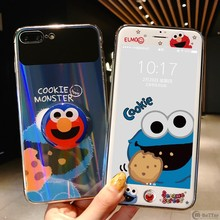 For iPhone XS MAX/XR case 6 6s 7/8 plus tempered glass cover make-up mirror sesame street ELMO + screen protector phone holder(China)