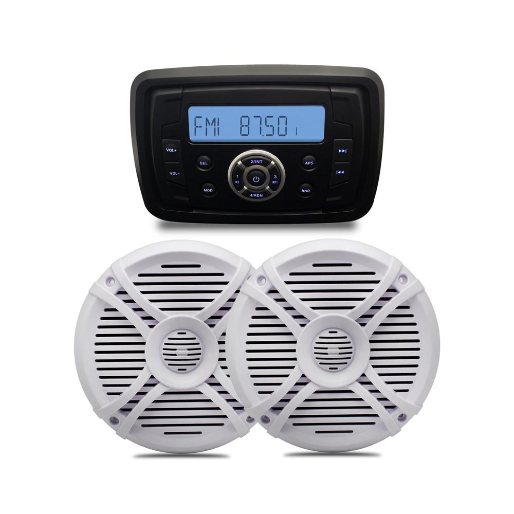 Audio étanche MP3 Radio FM AM USB Bluetooth musique stéréo + 1 paire 6.5 ''bateau marin étanche haut-parleurs pour vtt extérieur UTV