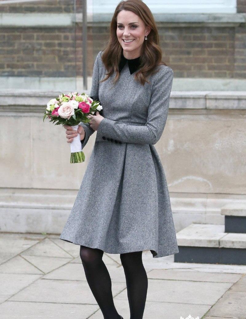 Nouveau Kate Middleton Princesse gris chaussure à semelle renforcée de mode designer femmes à manches longues laine robes a-line