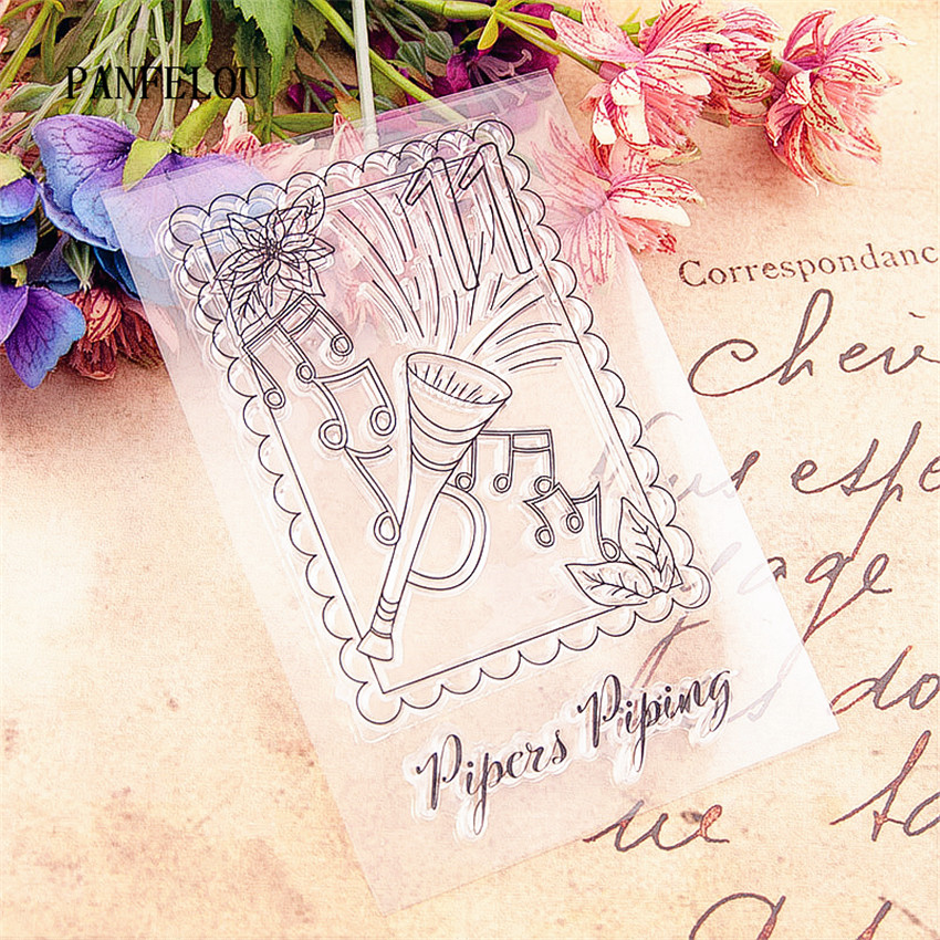 PANFELOU Music speaker stamps Transparent Silicone Rubber Clear Stamps cartoon for Scrapbooking/DIY Christmas wedding album