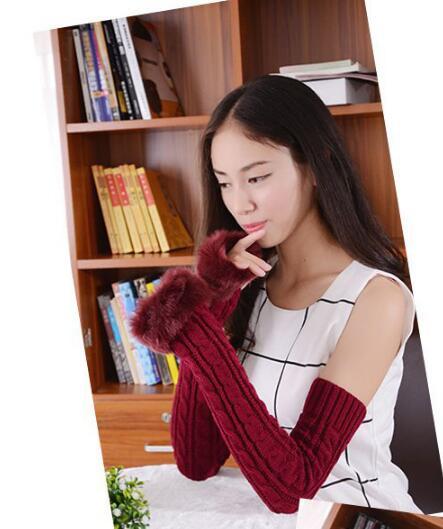 50 Pcs Wholesales Fedex Dhl Wholesales Hot Selling Long Women Winter Gloves Warm Faux Rabbit Fur Gloves Mittens 8 Colors