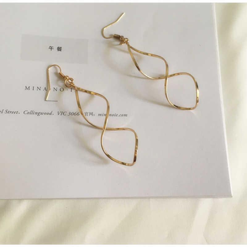 E0247 Fashion Double Loop Drop Anting-Anting untuk Wanita Panjang Gelombang Anting-Anting Menjuntai Kualitas Tinggi Pernyataan Pernikahan Perhiasan Grosir