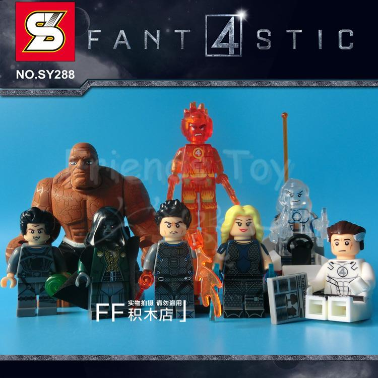 Fantastic Four 4 Comics The Thing Doctor Doom Building Blocks Bricks Minigures Toys Compatible With Lego water bottle