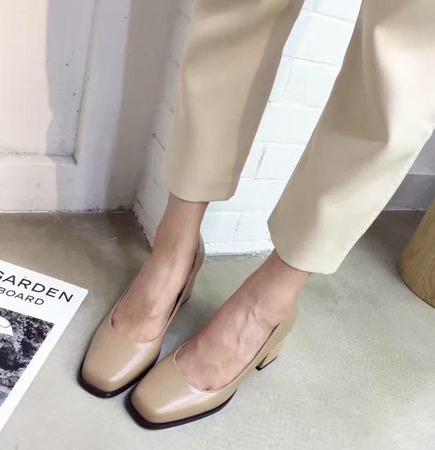 2016 Nuevo Color Caqui Negro Grueso Tacón Alto Bombas Sapatos de Salto Alto Talón Grueso Del Dedo Del Pie Cuadrado Zapatos de Tacones de Las Mujeres OL Officel