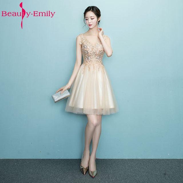 Beauty Emily Robe De Soiree Off the shoulder Gold Short Bridesmaid ...