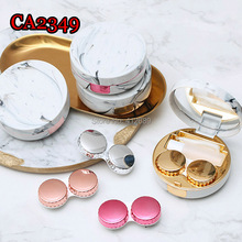 CA2349 LUXURY marble pattern round colorful contact lens case