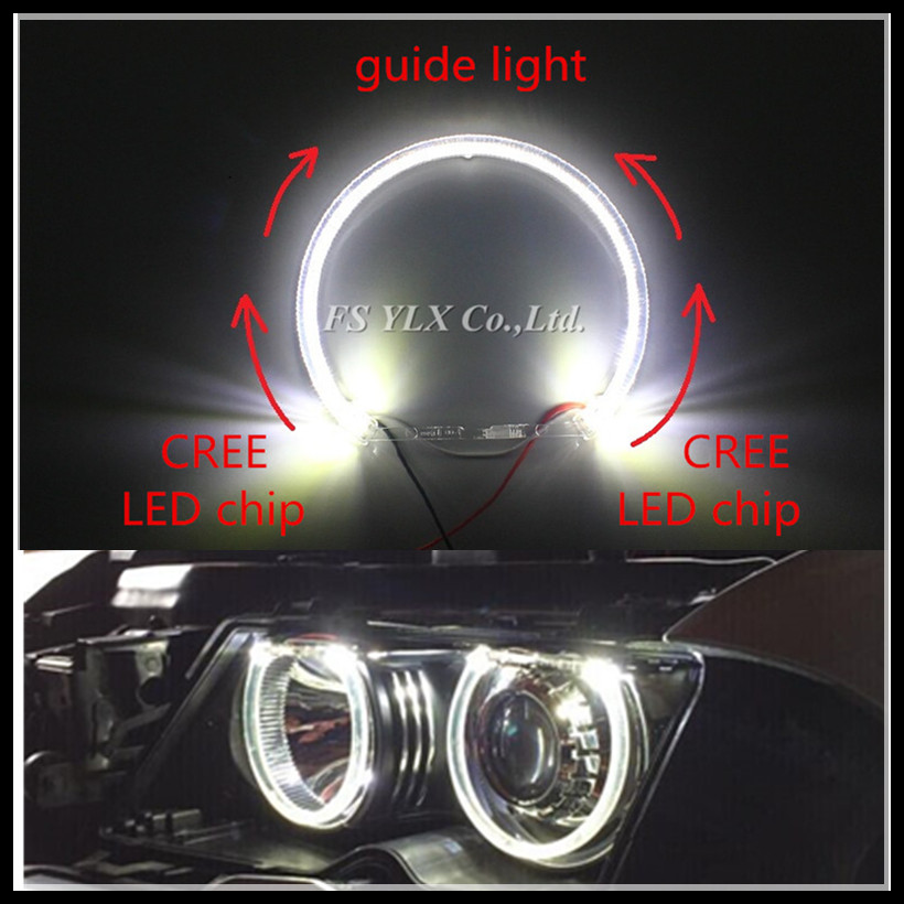 12W Car LED Halo Rings DRL SMD LED Angel Eyes for BMW 131mm White LED Headlight angel eye For BMW E36 E38 E39 E46 LED angel eyes led rings white 3014 smd led angel eyes headlight halo ring marker 131mm 145mm for bmw e46 non projector