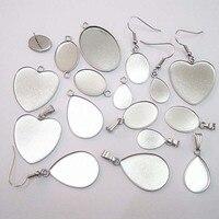Bandeja de bisel de acero inoxidable blanco, 10 Uds., cabujón, corazón ovalado, gota de agua, pendiente, colgante, camafeo para joyería artesanal