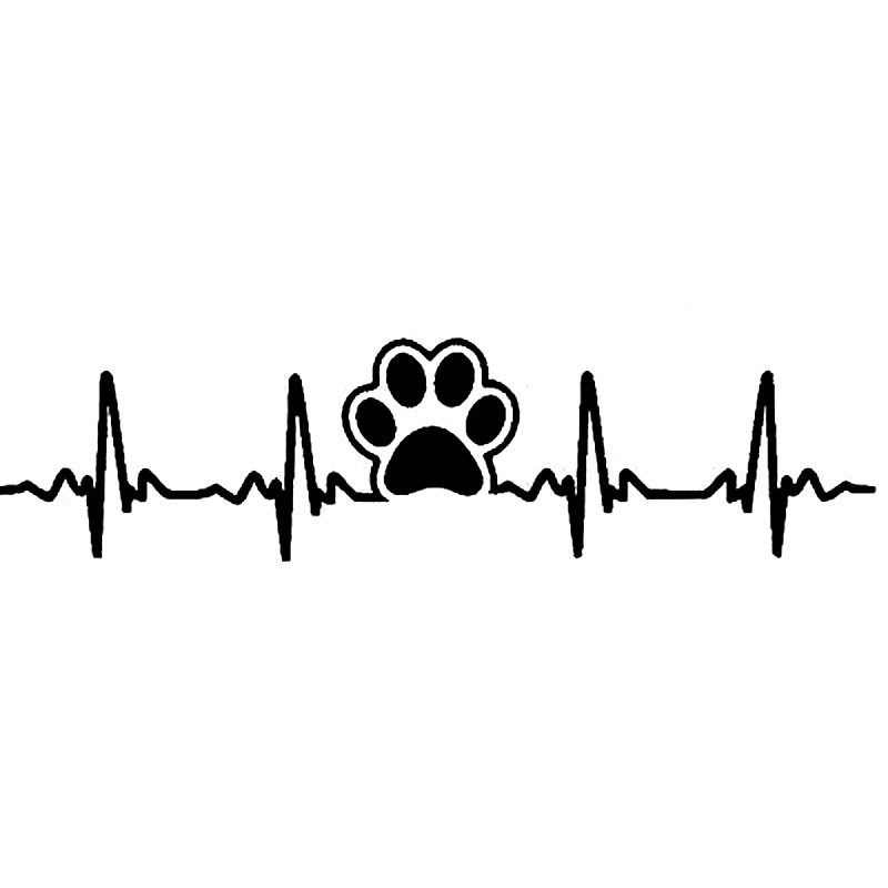 17.7cm*4.5cm Dog Paw Print Ekg Heartbeat Fashion Car Sticker Decal Vinyl S6-3829