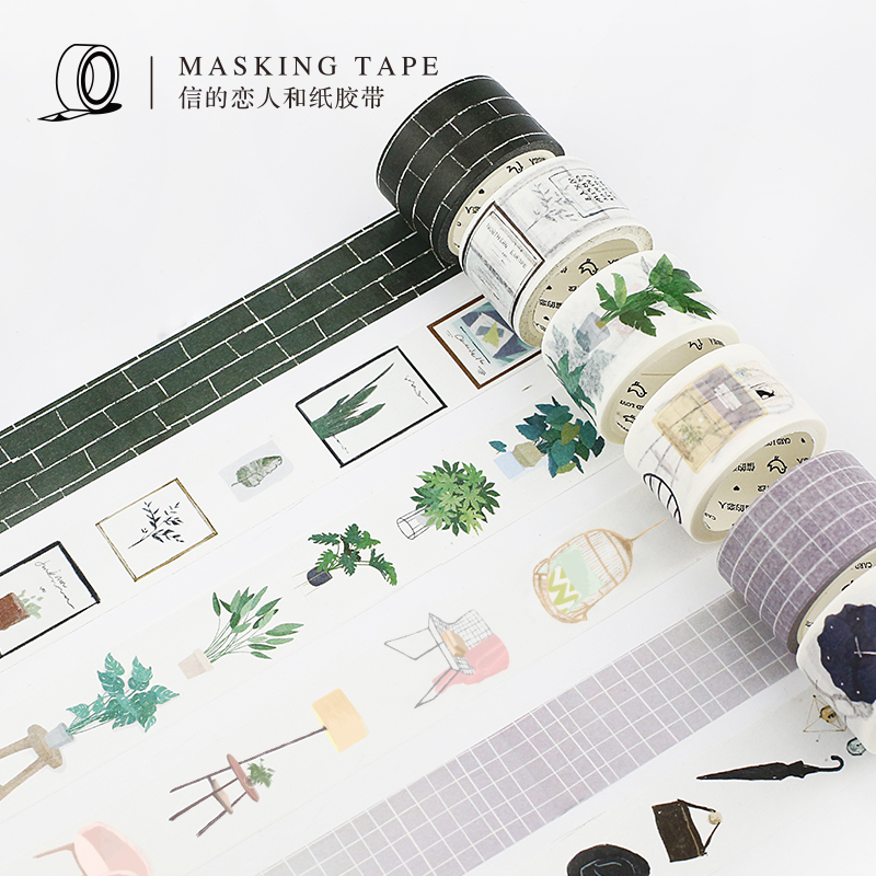 15mm/30mm Northern Europe Green Plant Wall Brick Modern Boy Girl Home Decoration Washi Tape DIY Planner Scrapbook Masking Tape