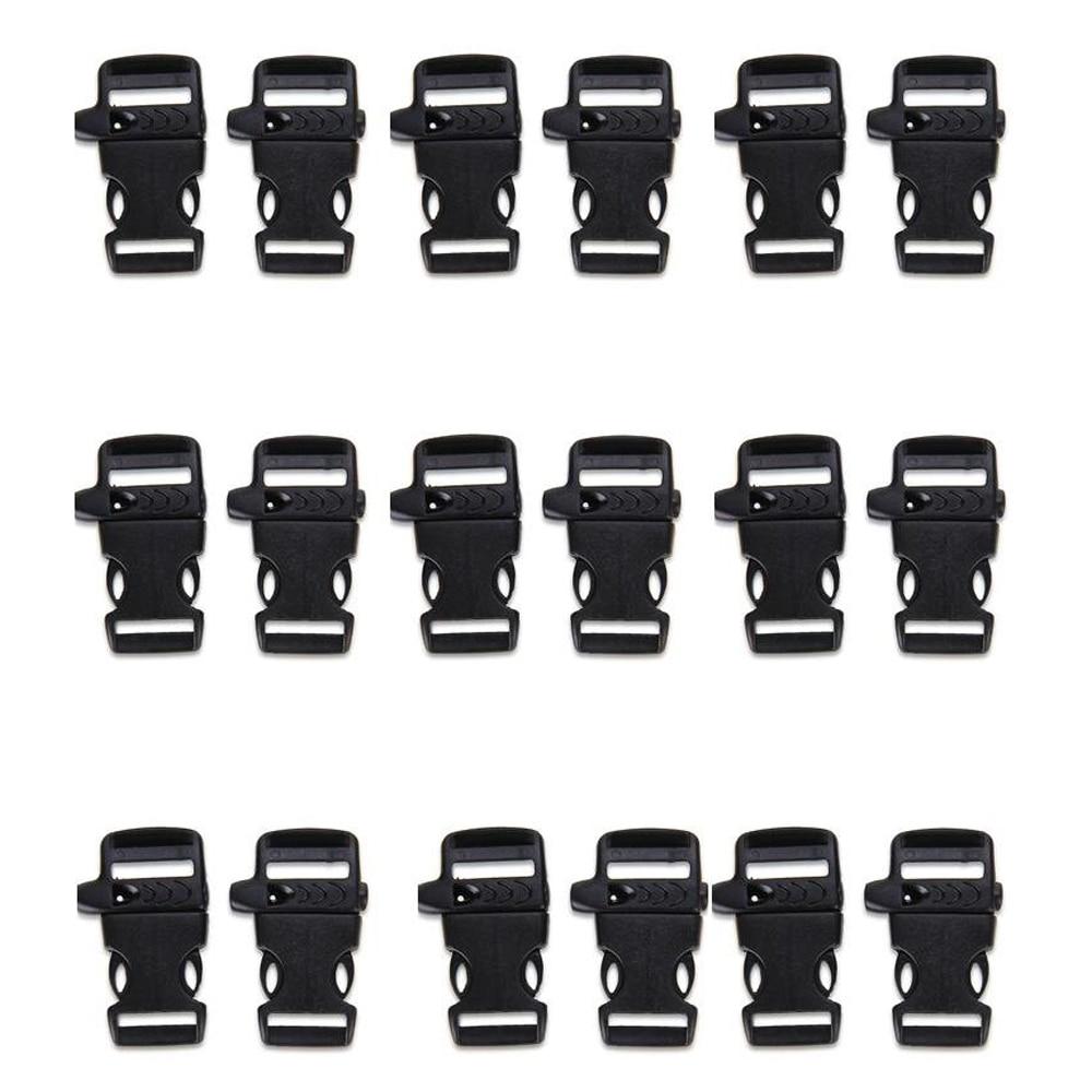 50pcs Buckle Buckle Clip Whistle Paracord Survival Bracelet 20mm BLACK