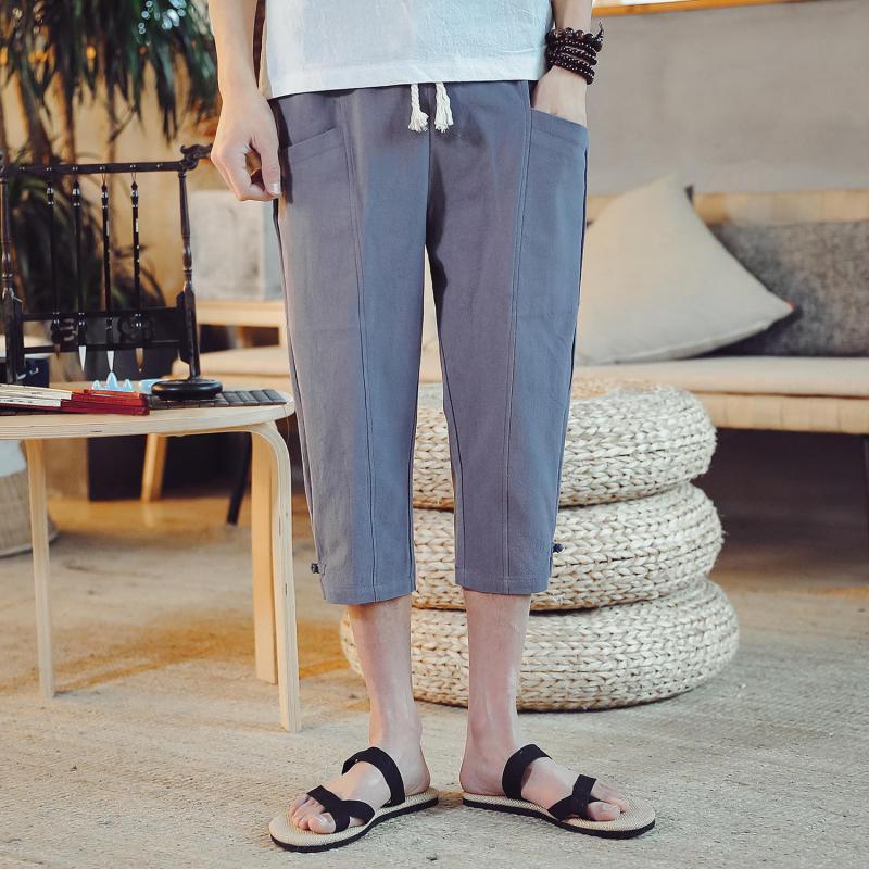 M-5XL Elastic Waist Vintage Cropped Trousers Plus Size Pocket Calf-Length Japanese Streatwear Drawstring Capri Trousers Workout