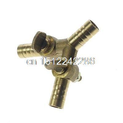 цена на Equal 10 mm Barb Barbed Brass 3 Ways Type Y Gas Fitting Connector Valve