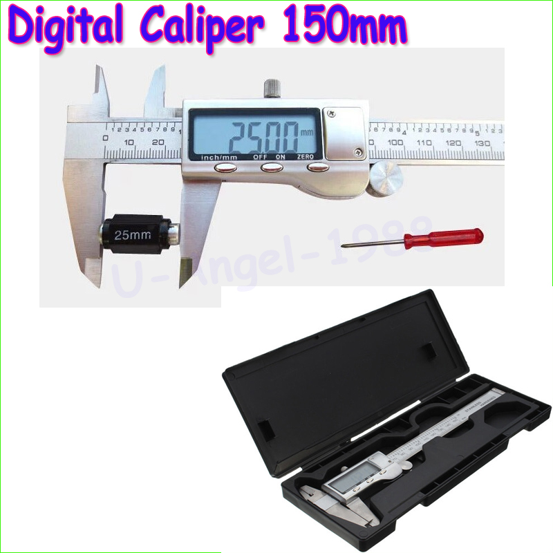 Wholesale 1pcs Stainless Steel 150mm/6-inch Electronic Digital Vernier Caliper Micrometer Guage with box Drop free shipping