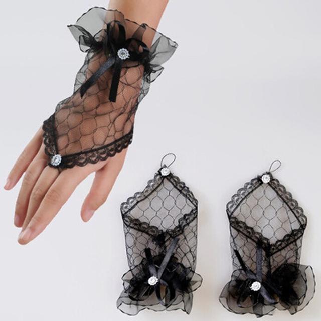 Corea novia Sexy guantes de Encaje sin dedos de Muñeca Guantes de Noche Del Partido Corto blanco/rojo/negro
