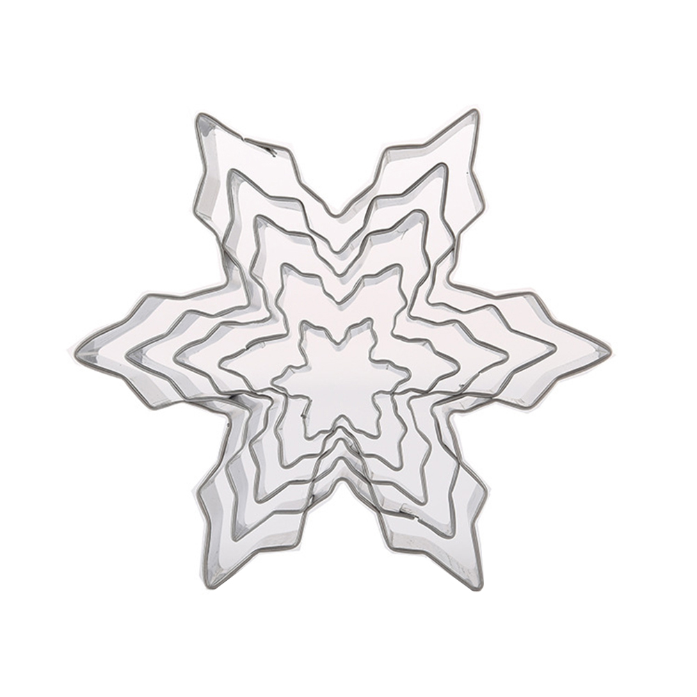 5pcs Snowflake Shaped Cookie Cutter Dough Biscuit Pastry Fondant Baking Mold