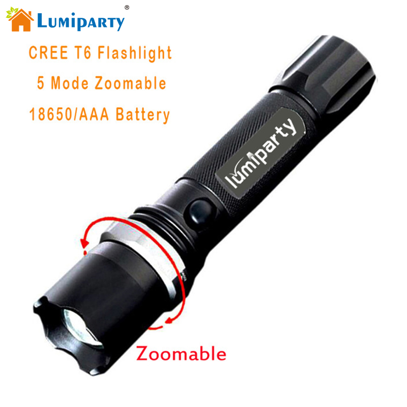 Lumiparty High Power CREE XML-T6 5 Modes Flashlight 3800 Lumens LED Flashlight Waterproof Zoomable Torch 18650 or AAA battery crazyfire high power 1000lm led cree xml t6 lanterna torch mini flashlight 5 modes waterproof zoomable penlight by 18650 battery