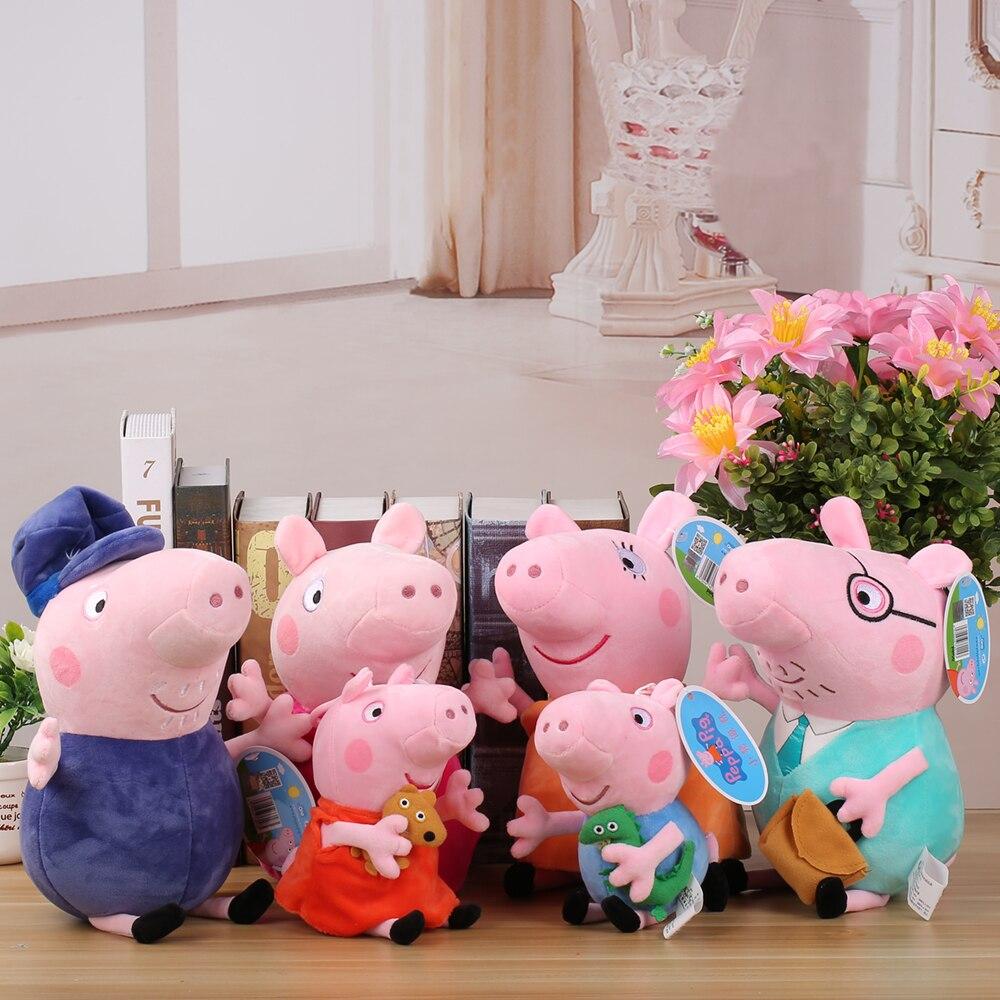 100% Genuine Peppa Pig Stuffed Plush Toys 19/30cm Peppa George Pig Peppa Families Christmas Gifts For Kids Animal Plush Toys