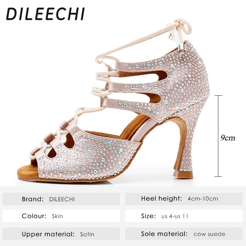 Image 2 - DILEECHI Women Latin Dance Shoes Skin Satin Shining Big small rhinestone dancing shoes Flare heel 9cm Narrow foot Adjust width-in Dance shoes from Sports & Entertainment