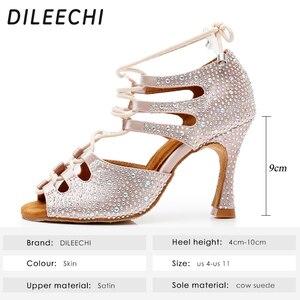 Image 2 - DILEECHI femmes chaussures de danse latine peau Satin brillant grand petit strass chaussures de danse Flare talon 9cm pied étroit ajuster la largeur