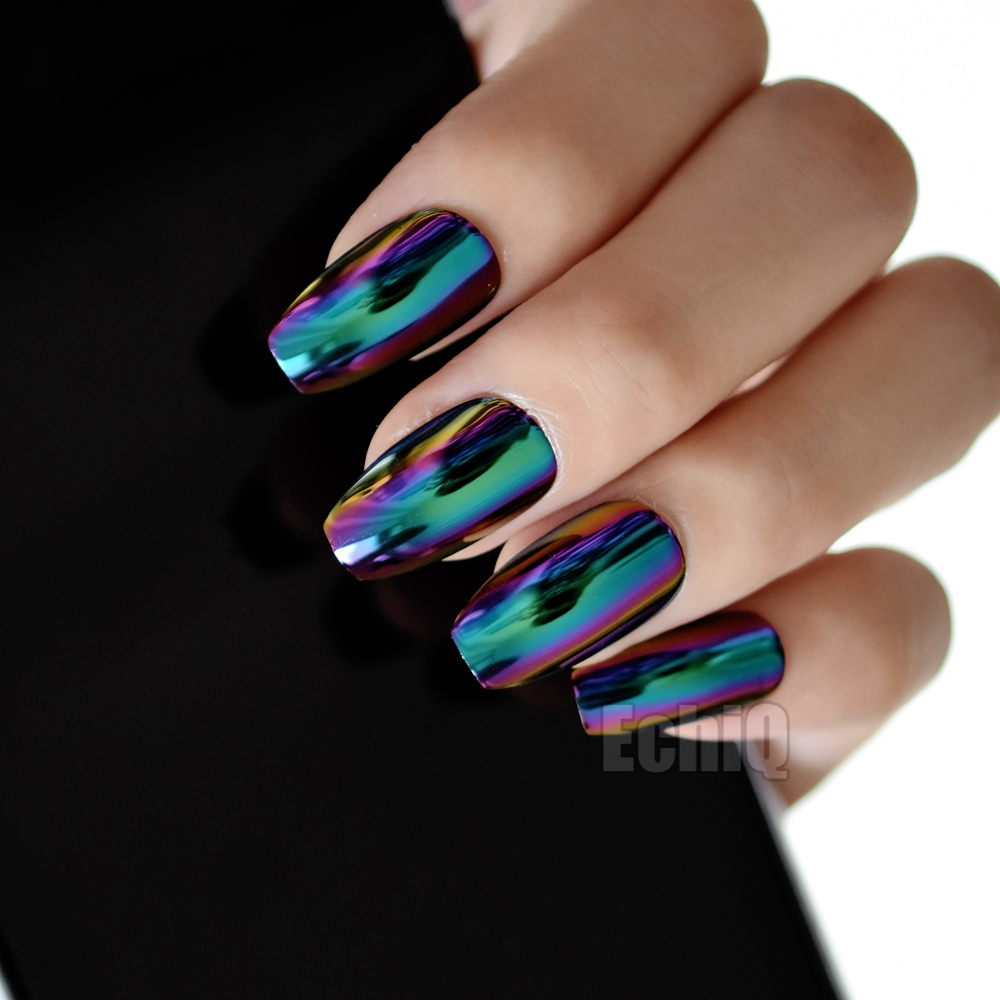 24pcs Blue Purple Metallic Acrylic Nails Holographic Coffin Design Medium Mirror False Fake Nail Tips With Glue Sticker Z905 In From Beauty