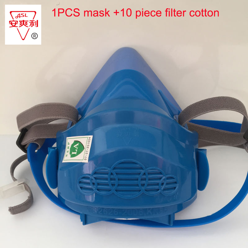 Latest respirator dust mask blue silicone anti - dust respirator a-class large size dust mask Safe shipping silicone abs dust filter respirator mask dark grey