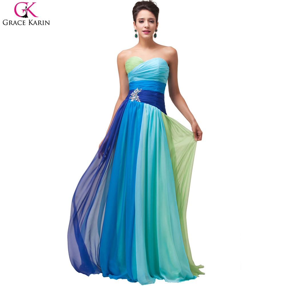 Rainbow Prom Dress Grace Karin Rainbow Plus Size Prom Dresses 2017 ...