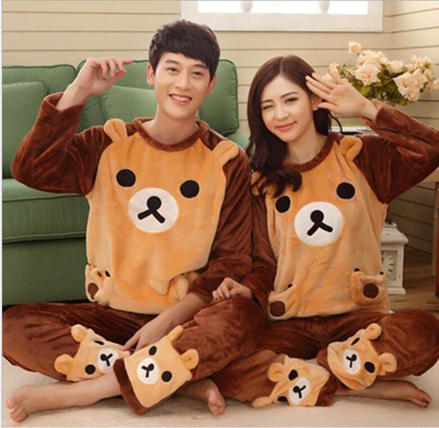 920519104 NEW Winter Cute bear Couple Pajama Sets Adult Onesie Pyjamas For ...