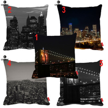 Blanco y negro Nueva York Night City View Print Coche Decorativo Throw Almohada Cojín Sofá Decoración Para El Hogar