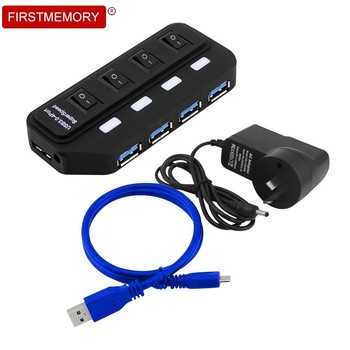 цена на USB HUB 3.0 4 Ports Portable usb hub external Power Adapter High Speed 5Gbps USB Splitter HUB with AU/EU/US/UK Plug PC desktop
