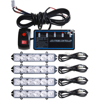 4X6LED High Power Wired Control 12V 24W Auto Car Grille Strobe Warning Light Flashing DRL Ambulance Emergency Police Day Lights