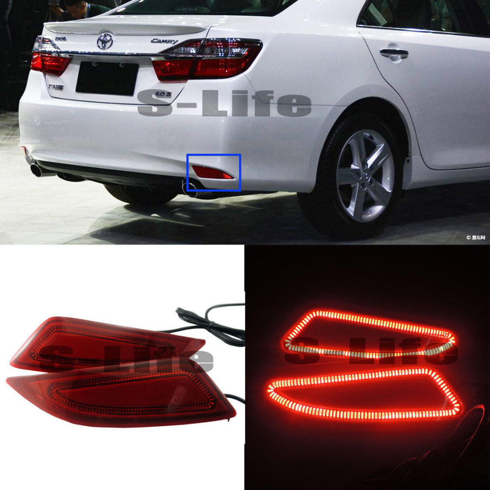 For Toyota Camry 2015-2018 LED Rear Bumper Reflector Surface Braking Lights Turn Signal toyota camry