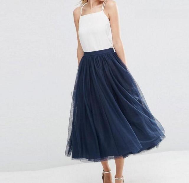 0b13ae7cad229a € 44.61 |Mode bleu marine longue jupe Zipper taille longueur jupe  personnalisé couches lisse Tulle jupes femmes Style décontracté dans Jupes  de ...
