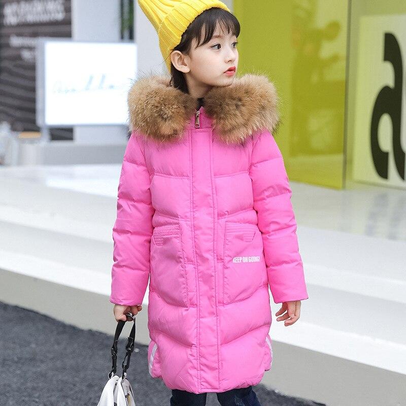 ZENOBIAPEARL haute qualité de marque 2018 chaud blanc duvet de canard vestes longues hiver filles manteaux chauds vestes et manteaux 7-14 ans