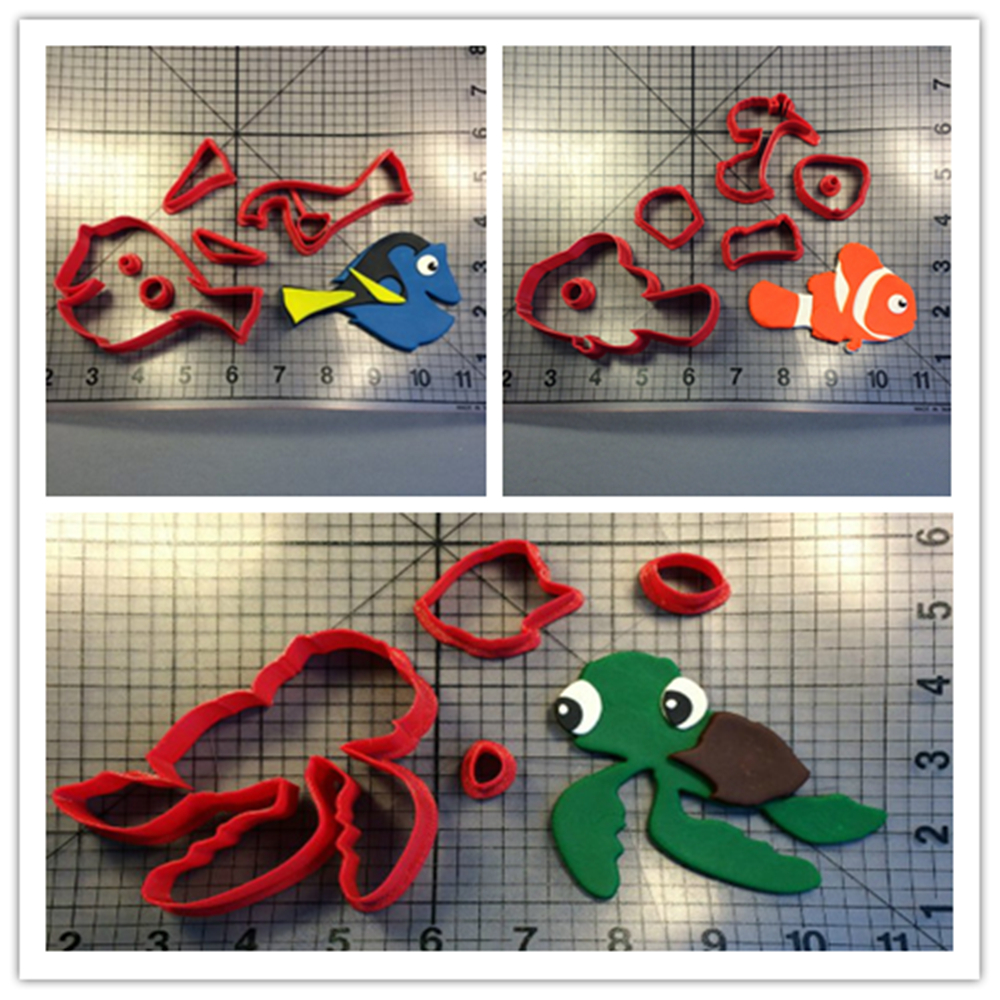 Custom Made 3D Printed Cookie Cutter Finding Nemo Fish Fondant Cupcake Topper Moulds Cookie Cutter set Kitchen Tools