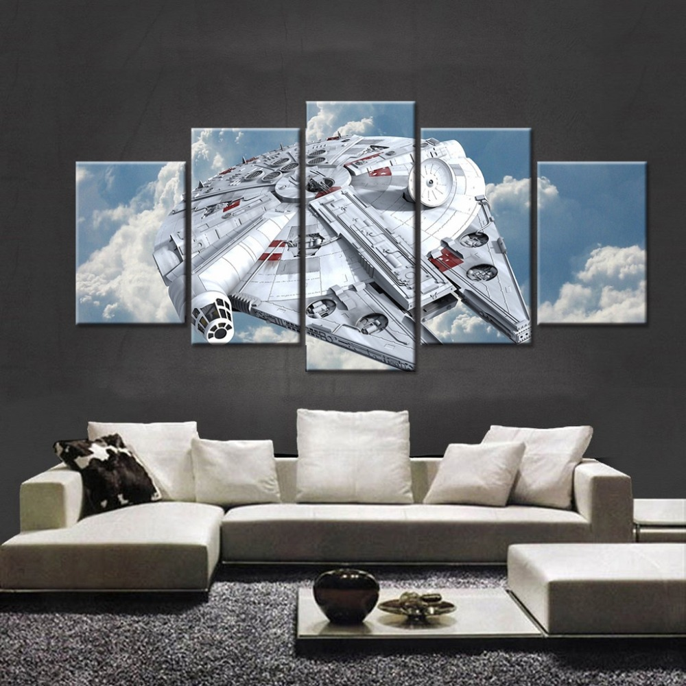 5 Panel Movie Star Wars Millennium Falcon Poster Modern Home Wall ...
